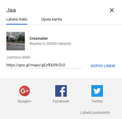 Google-karttalinkin jakaminen uutiskirjeissä ja sosiaalisissa medioissa