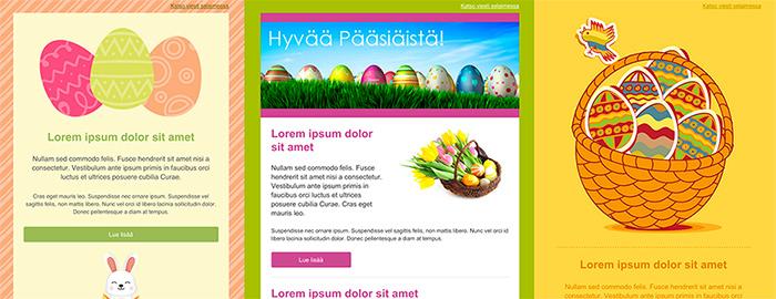 Pääsiäistervehdykset Creamailerin pääsiäisviestipohjilla