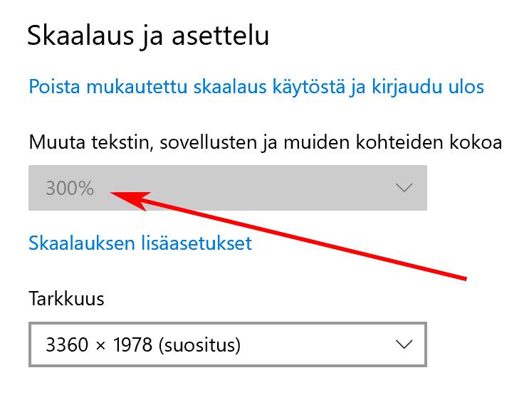 Windows - Työpöydän skaalaus