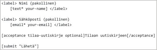 Contact Form 7 - lomake-esimerkki
