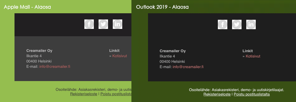 Tumma tila alaosa - Apple Mail vs Outlook 2019