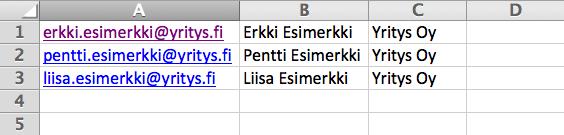 Excel-esimerkki
