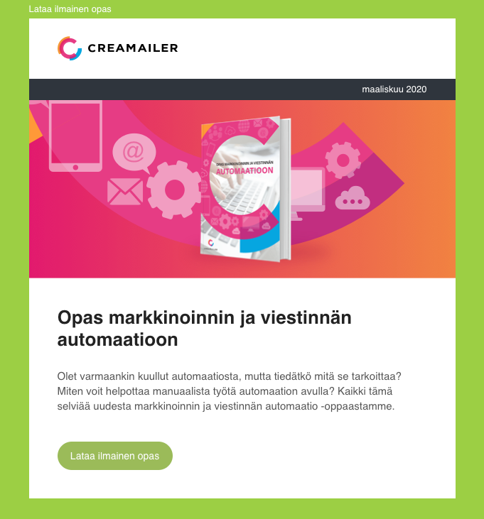 Creamailer uutiskirje - Light mode